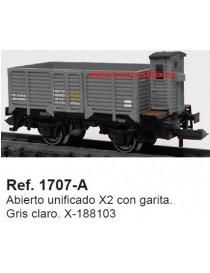 VAGÓN ABIERTO BORDE ALTO CON GARITA X-188103 , KTRAIN 1707-A