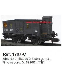 """VAGÓN ABIERTO BORDE ALTO CON GARITA X-188001 """"TE"""", KTRAIN 1707-C"""