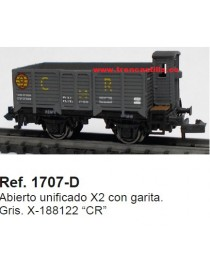 "VAGÓN ABIERTO BORDE ALTO CON GARITA X-188122 ""CR"", KTRAIN 1707-D"