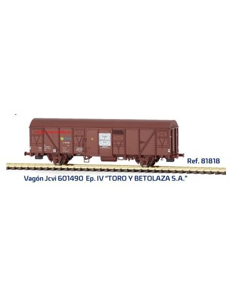 "VAGÓN RENFE Jcvi 601490 ""TORO Y BETOLAZA S.A."", MABAR 81818"