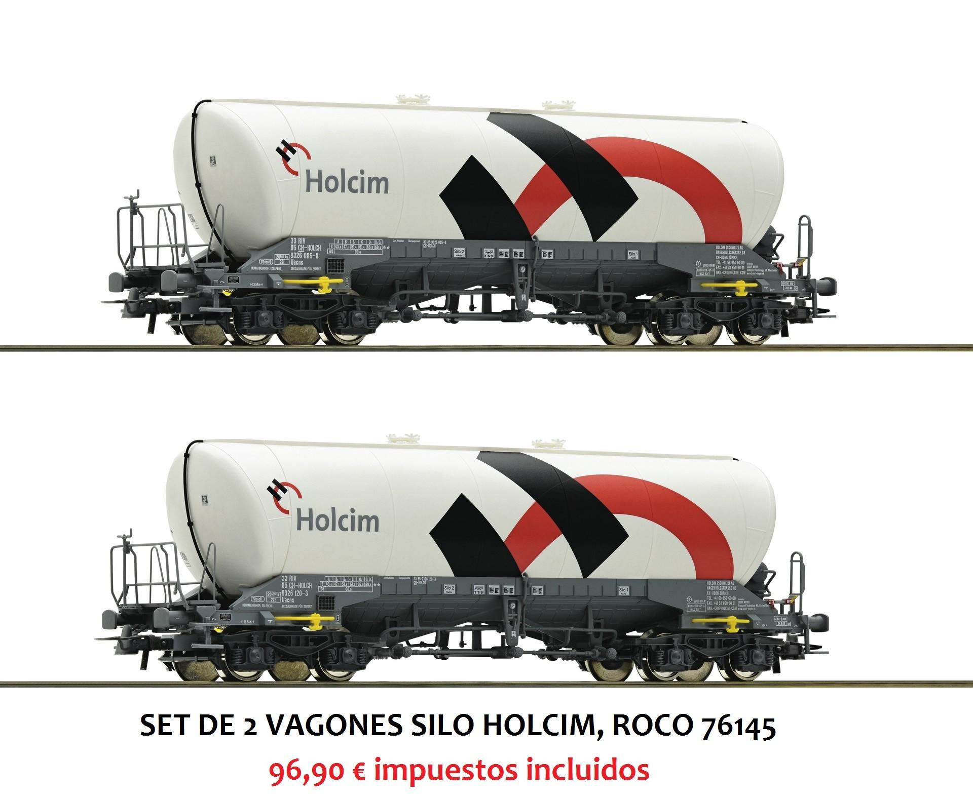 SET DE 2 VAGONES SILO HOLCIM, ROCO 76145